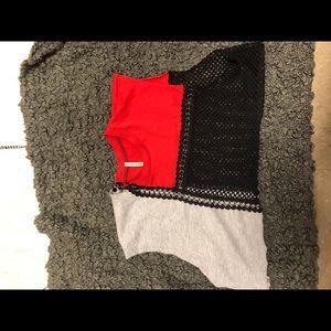 LF crop mesh panel shirt